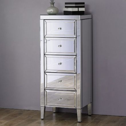 Vienna Mirrored 5 Drawer Narrow Chest